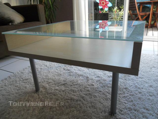 Ikea table basse bois et verre