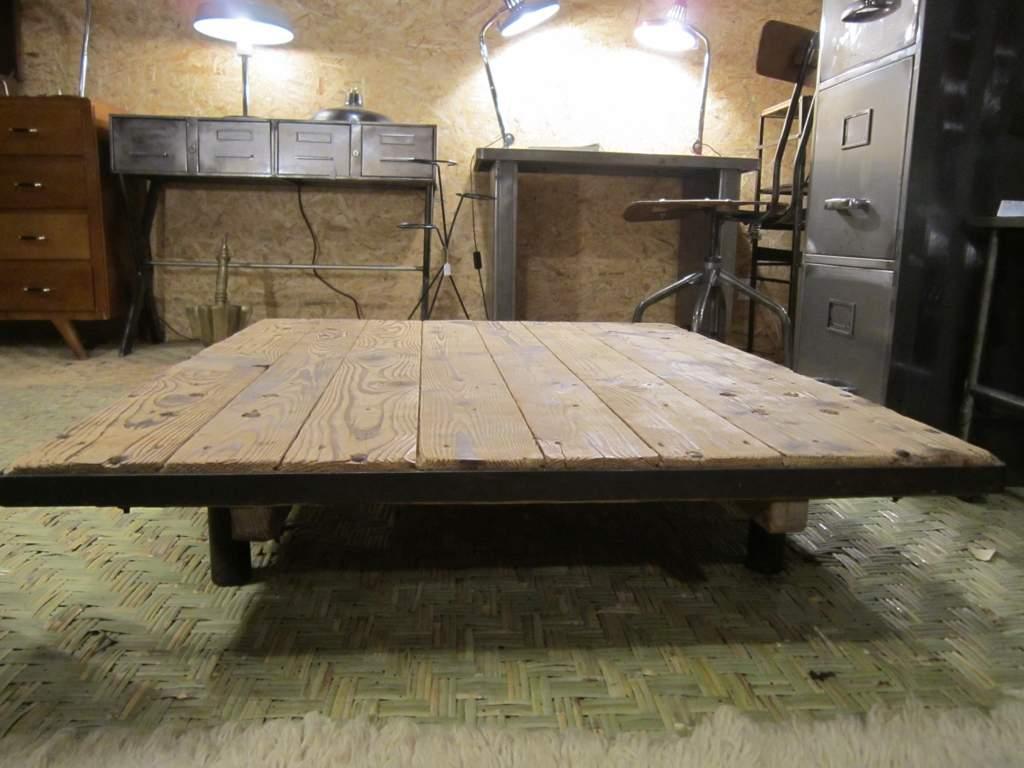 Grande table basse bois blanc