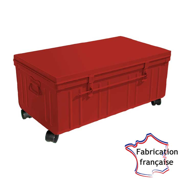 Table basse industrielle rouge
