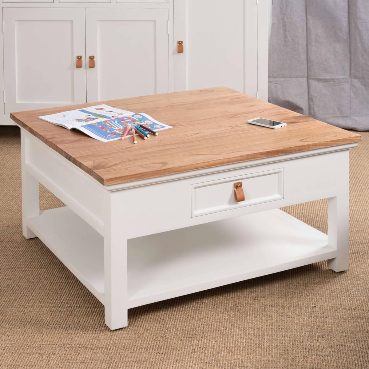 Table basse blanche et bois carrée