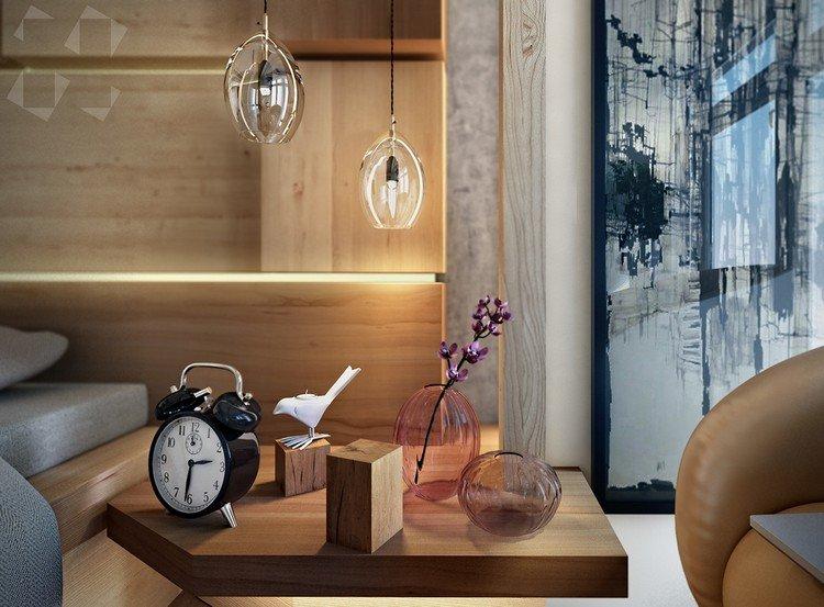 Table basse design rétro avec motifs décoratifs