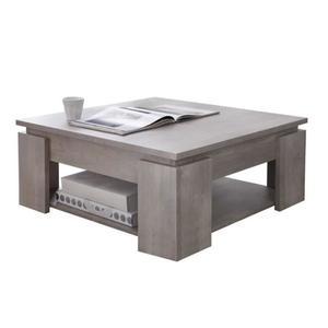 Table basse carrée en bois laqué l'80 cm avec plateau relevable loft