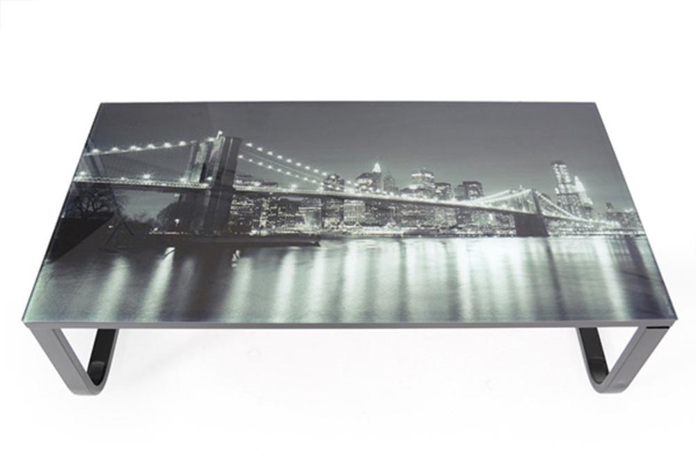 Table basse verre imprimé