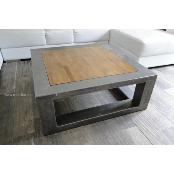 Table basse bois inox brossé