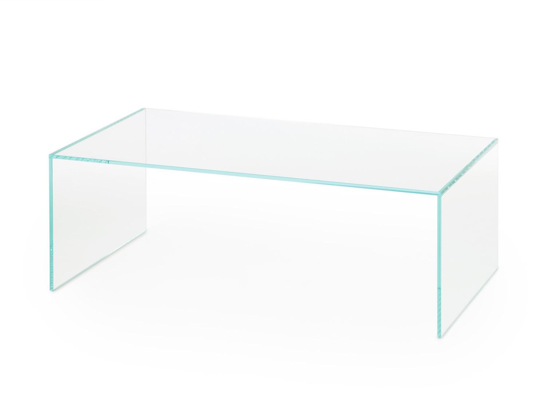 Table basse en verre rectangulaire pont