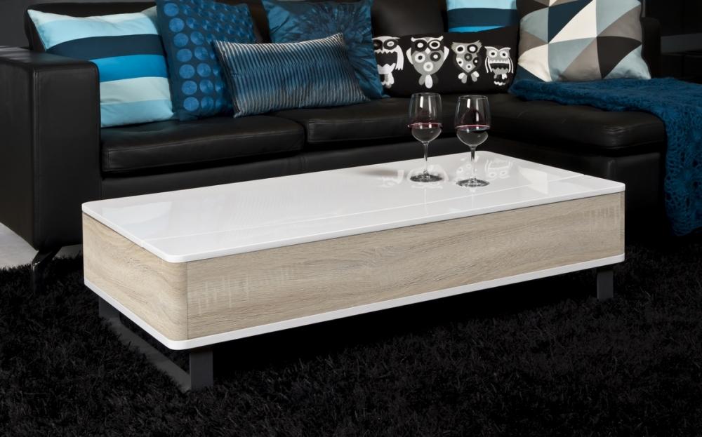 Table basse blanc laqué et bois