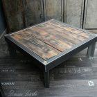 Table basse bois metal fait maison