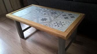 Table basse bois carreau ciment