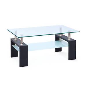 Table basse en verre pied noir
