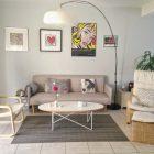 Canape gris table basse bois