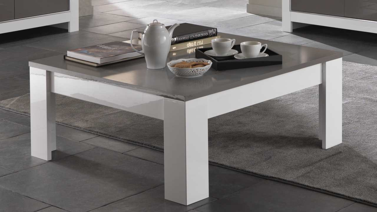 Table basse carrée blanc et gris