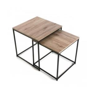 Table basse pied noir plateau bois