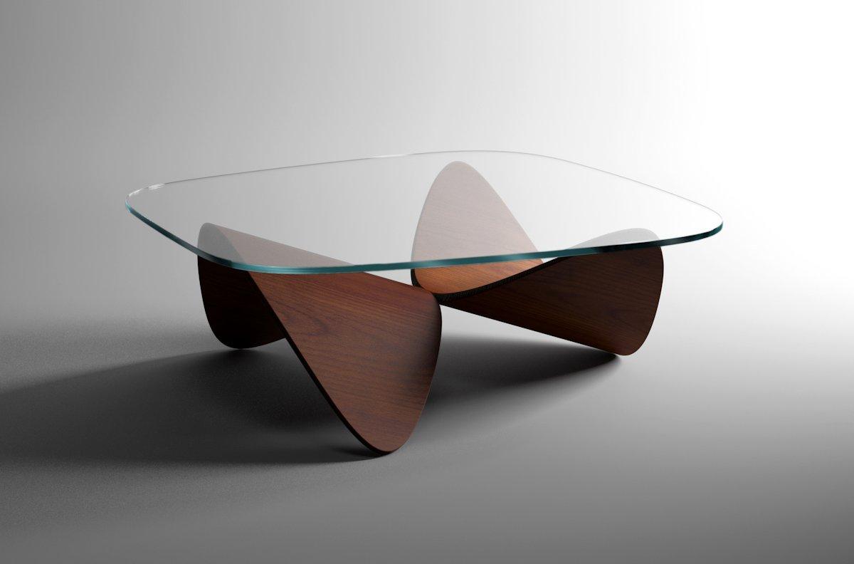 Table basse bois cintré