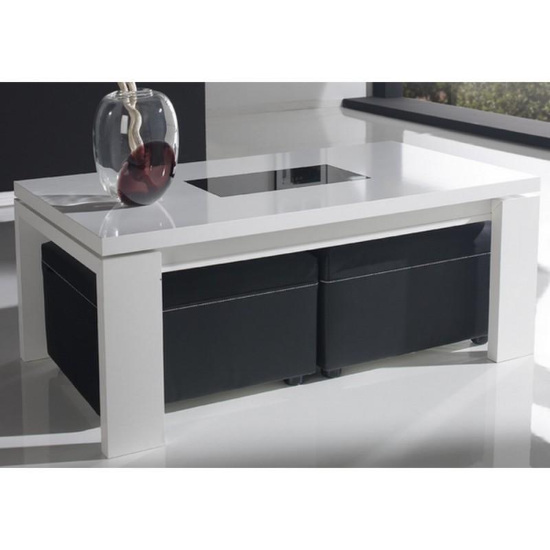 Table basse avec pouf noir et blanc