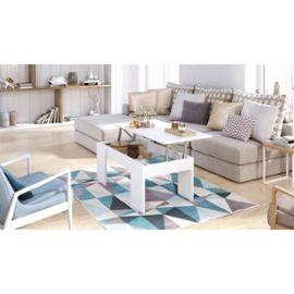 Swing table basse plateau relevable style contemporain blanc mat - l 100 x l 50 cm