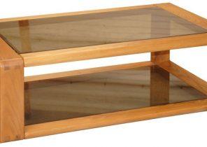 Table basse rectangulaire en bois avec tiroir et niche l120cm pablo