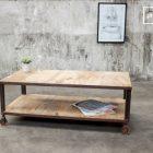 Table basse vintage bois 2 plateaux