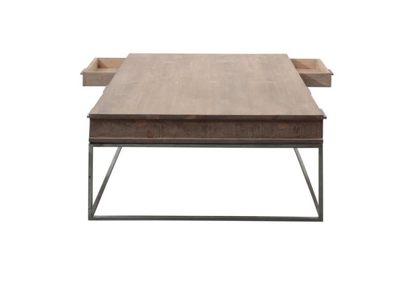 Table basse bois metal avec tiroir