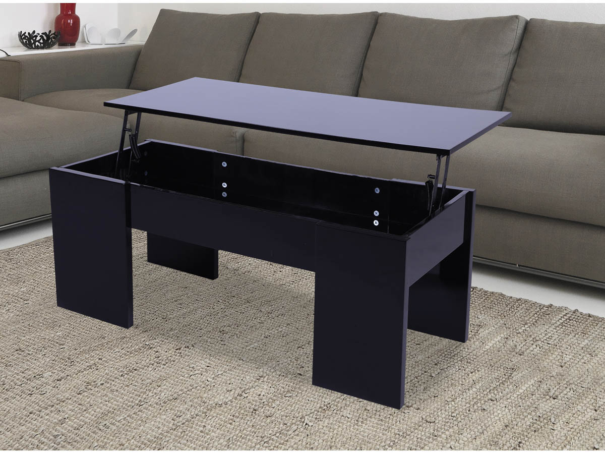 Table basse noire plateau relevable