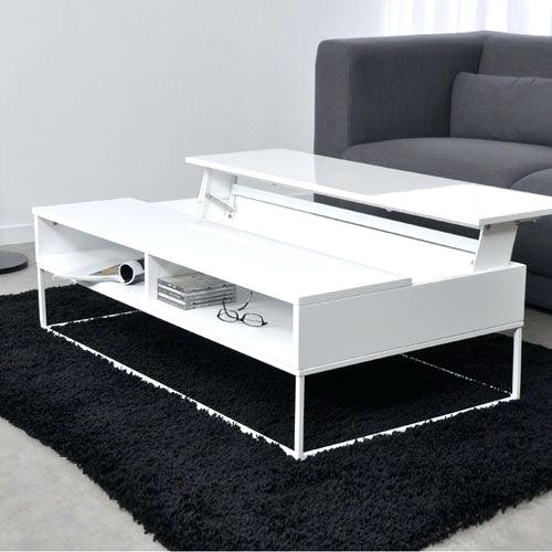 Open table basse transformable, plateau relevable blanc