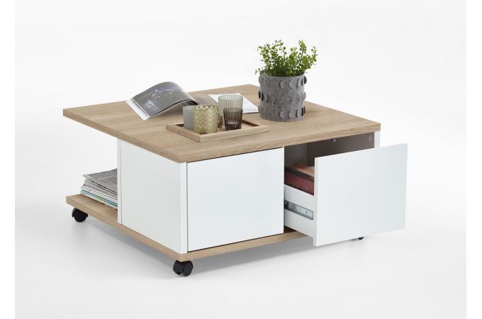 Table basse en bois blanc avec rangement