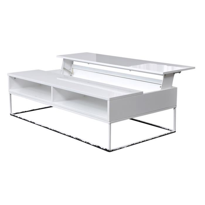 Table basse avec plateau relevable blanc brillant