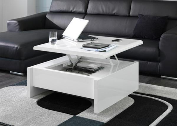 Table basse carrée plateau relevable