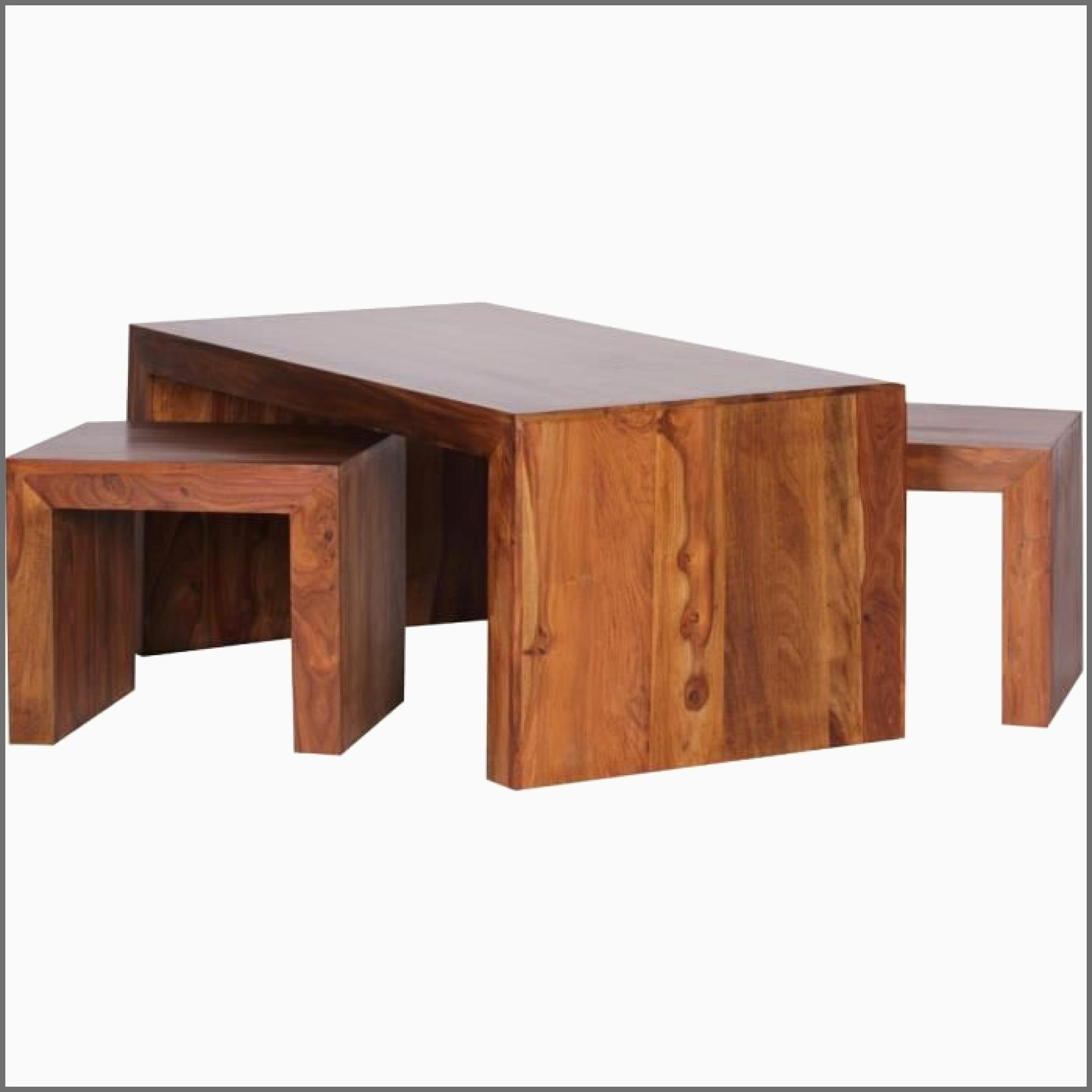 Table basse bois avec tabouret