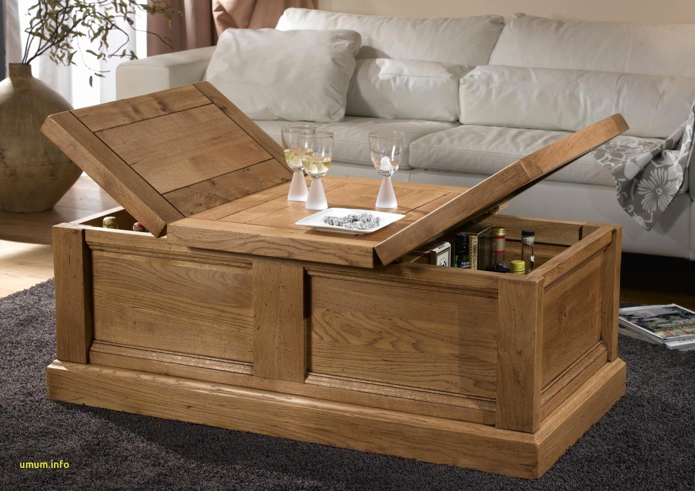 Table basse en bois avec coffre