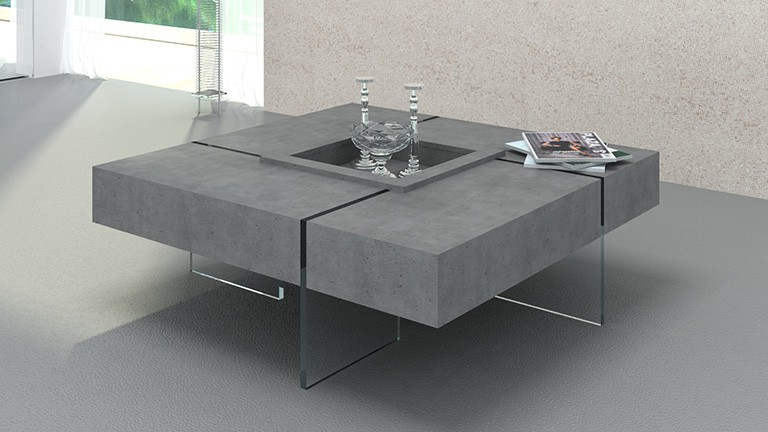 Table basse relevable beton