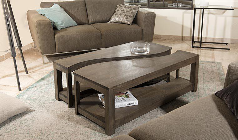 Table basse design modulable bois