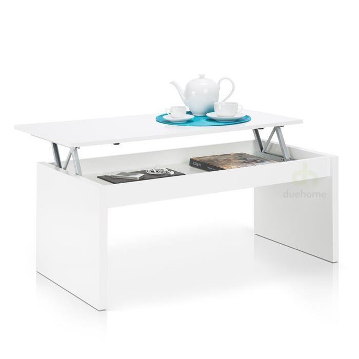 Table basse laqué blanc plateau relevable