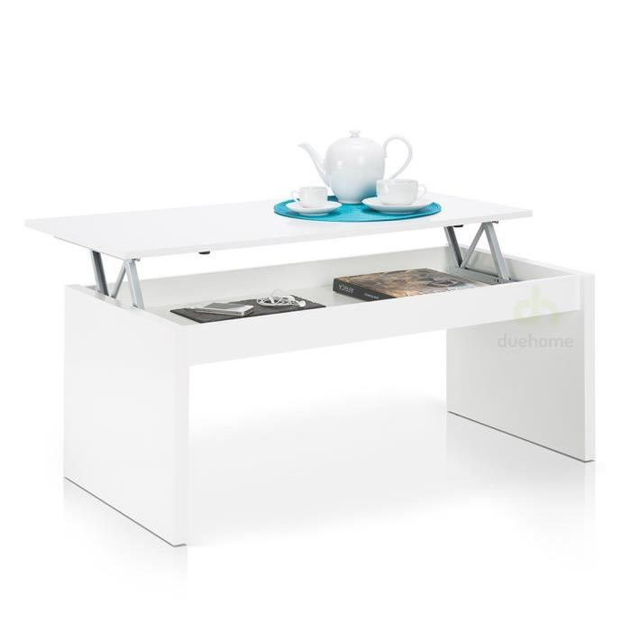Table basse relevable blanc cdiscount