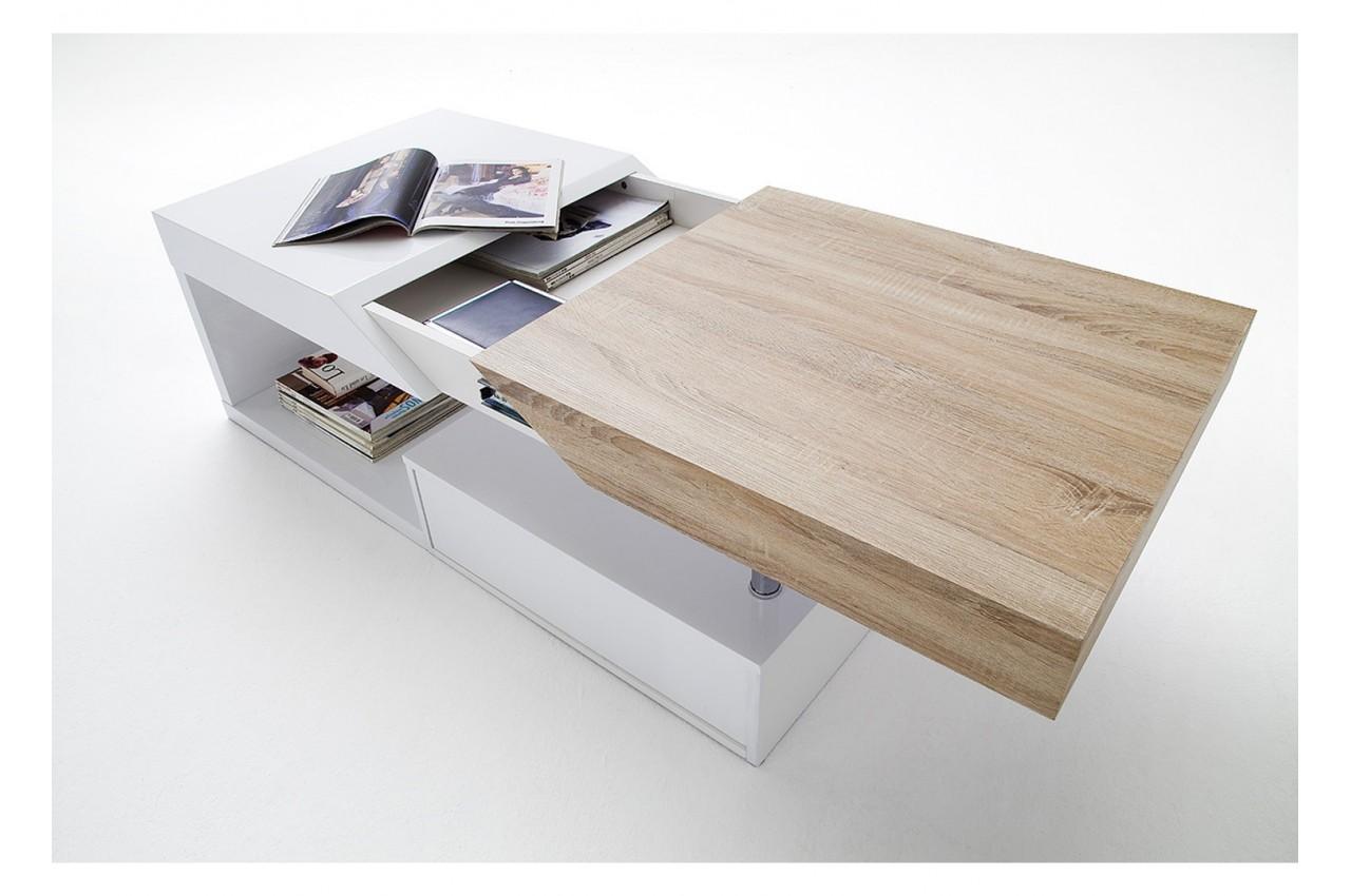 Table basse design dessus en bois laqué blanc martens