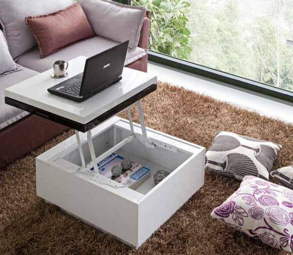 Table basse carree relevable
