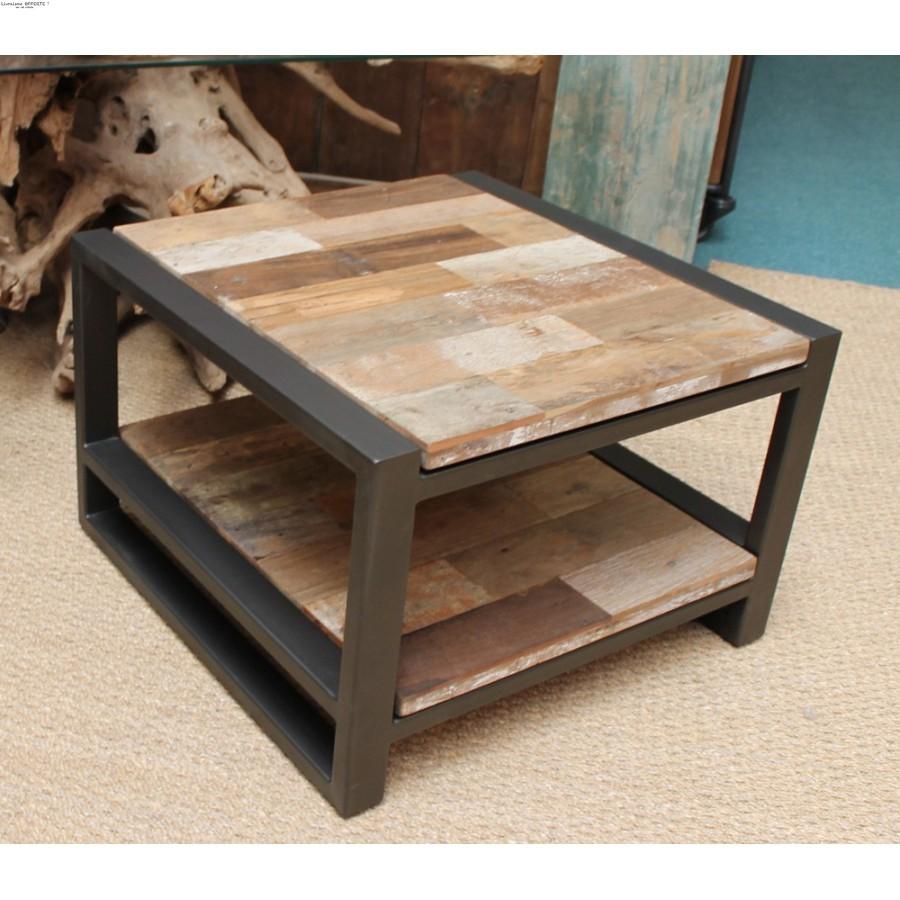 Table basse moderne bois et fer