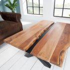 Table basse bois et metal noir