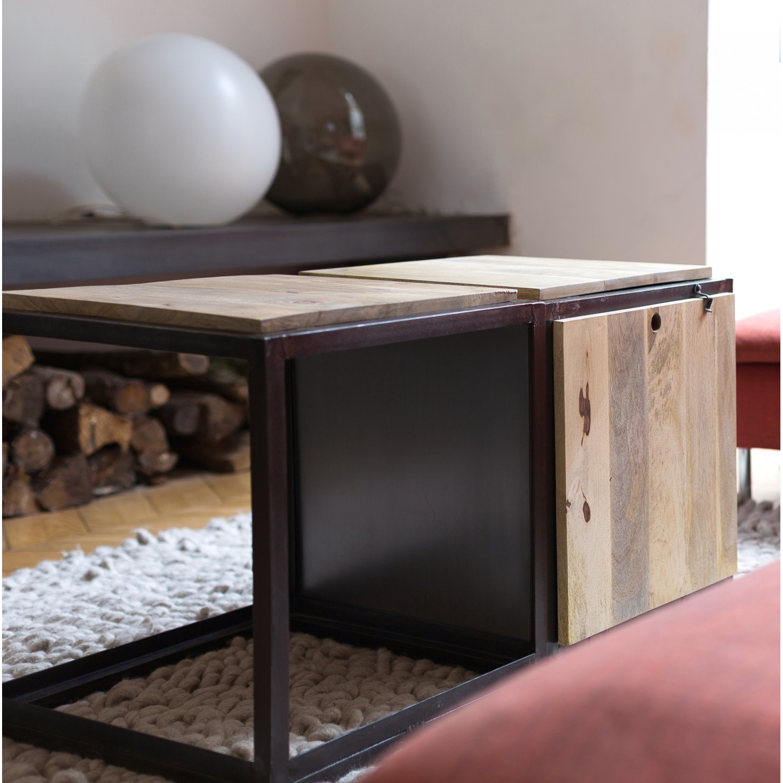 Table basse bois cube
