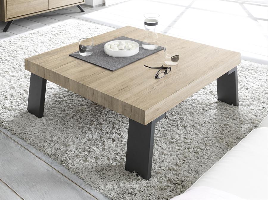 Table basse bois et métal industriel
