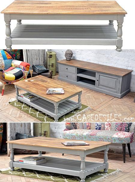 Table basse gris et bois