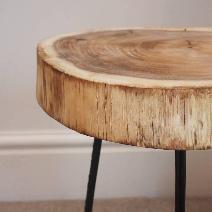Table basse bois metal diy