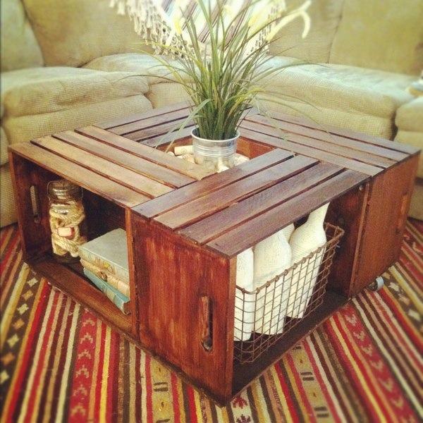 Table basse bois mosaique