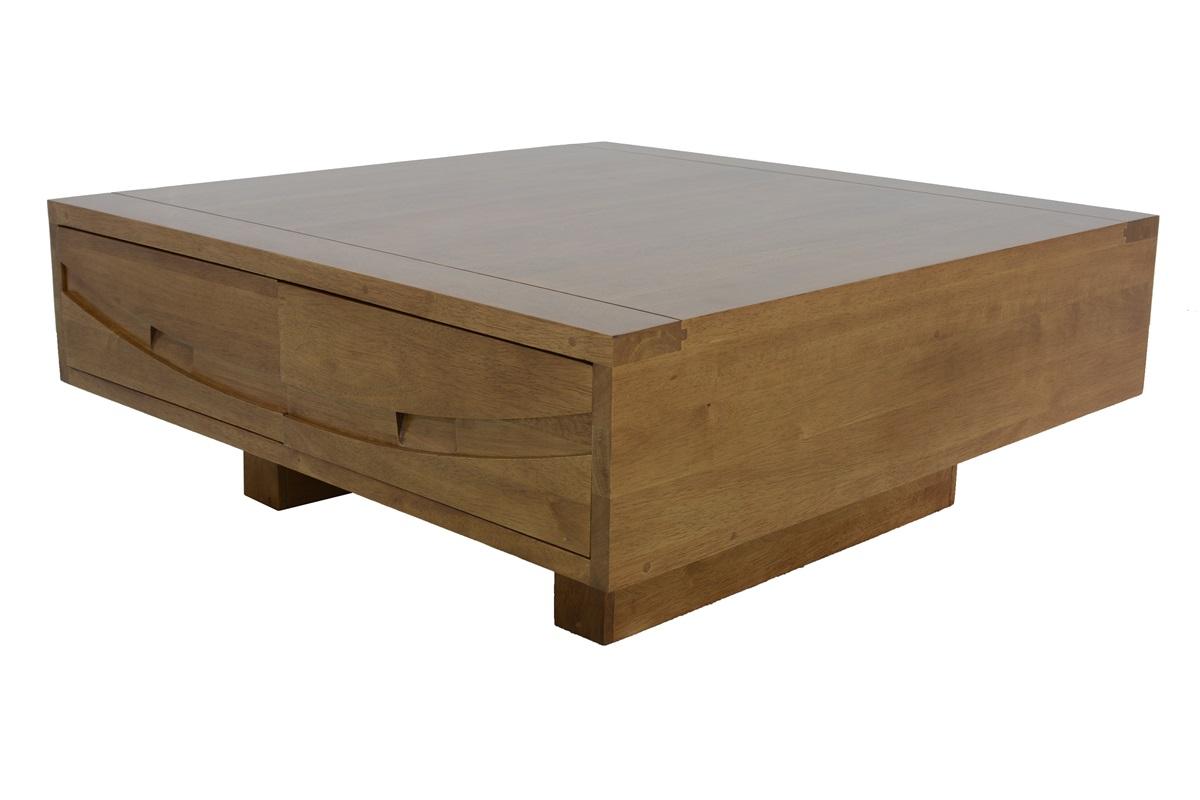 Table basse carré en bois avec tiroir