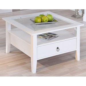 Table basse bois et verre avec tiroir
