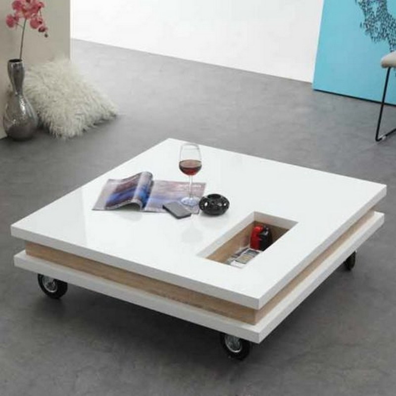 Table basse carrée blanche
