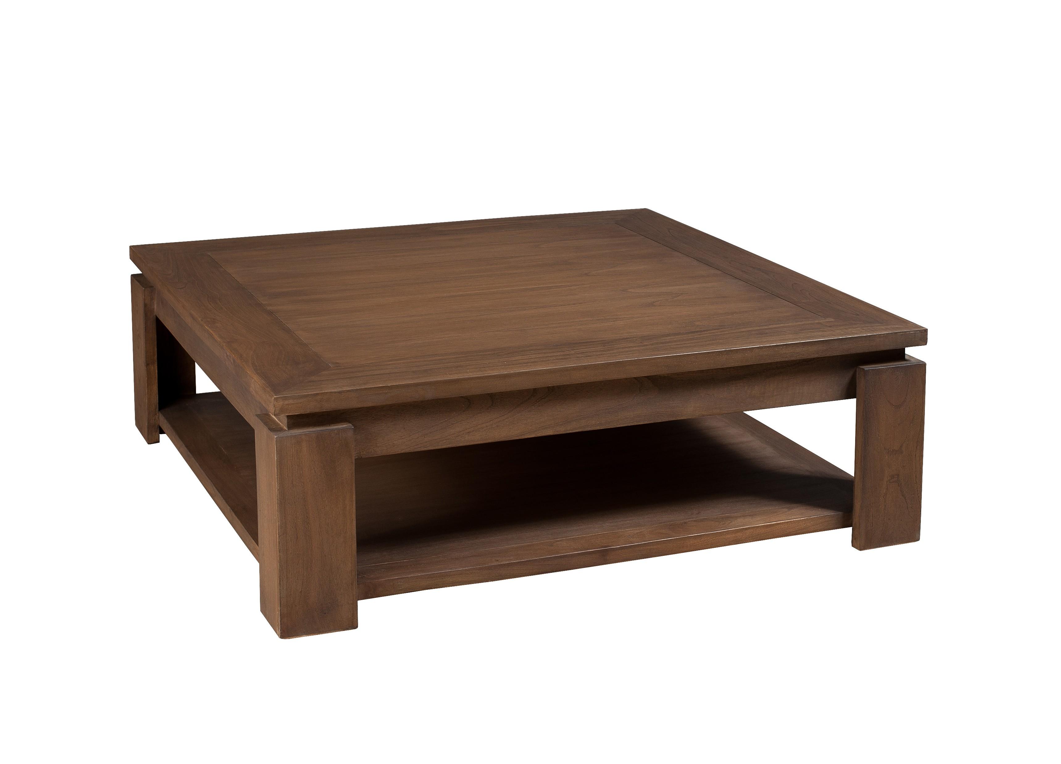 Table basse bois exotique double plateau