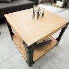 Table basse carre metal bois