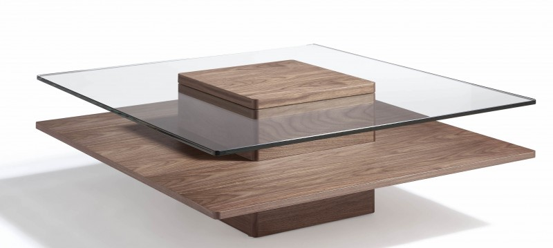 Table basse en bois verre