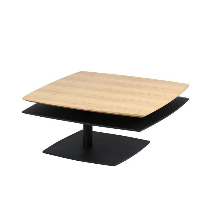 Table basse carrée bois double plateau