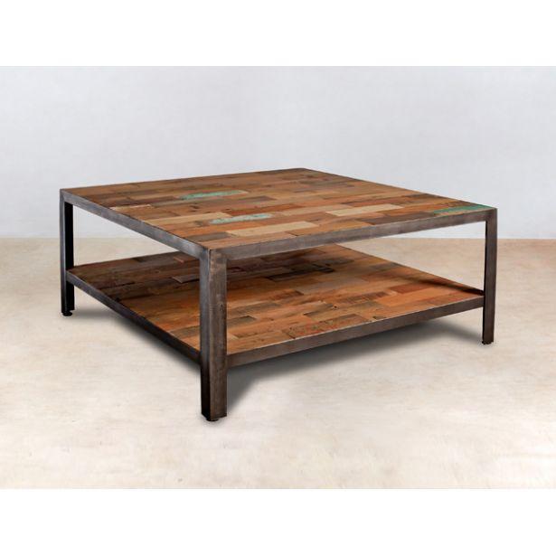 Table basse bois bateau recycle